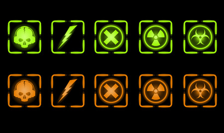 Vector set of green and orange industrial icons   Vector
