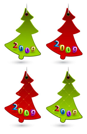 Set of vector New Year labels shaped as Christmas tree Vector
