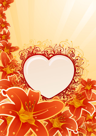 Vector orchid frame with floral heart. All flowers are fully editable  Vector
