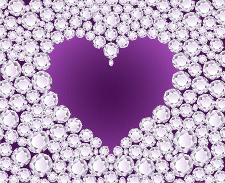 Vector purple heart on shiny diamond background Stock Vector - 4180490