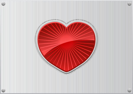 Vector illustration of a red heart on aluminum background  Stock Vector - 4237327