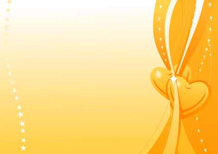 Vector wallpaper with gold hearts for Valentine's Day  Vector