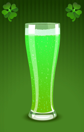 Vector illustration of a green beer glass for St. Patrick�s Day  Vector
