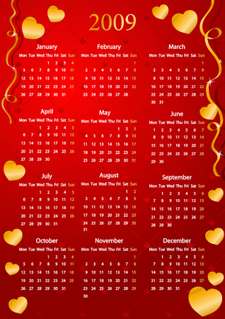 Vector European red calendar with golden hearts, starting from Mondays  Stock Vector - 4237333