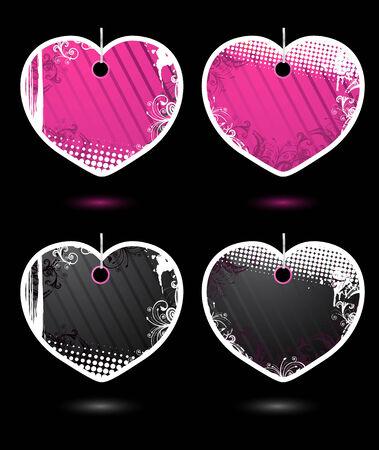 heartshaped: Set of vector heart-shaped grunge labels
