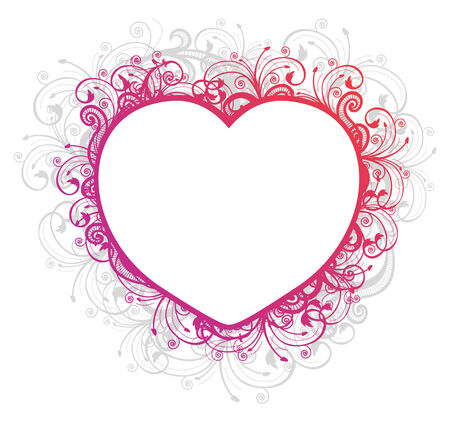Vector illustration of floral heart frame over white background  Vector