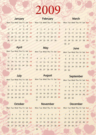 mondays: European Vector pink floral calendar with hearts, starting from Mondays Illustration