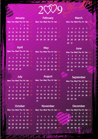 Vector European floral pink grungy calendar with hearts. Starting from Mondays Vector