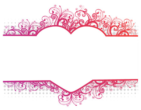 horizontal border: Vector illustration of a floral pink border with heart