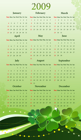 sundays: Vector illustration of calendar with clover for St. Patrick�s Day, starting from Sundays