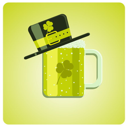 Vector cartoon green beer and hat for St. Patrick�s Day  Vector