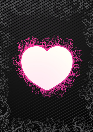 Vector illustration of floral heart over black background Stock Vector - 4299031