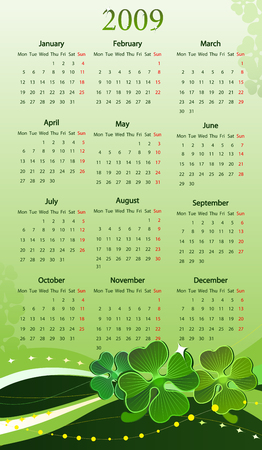Vector illustration of calendar with clover for St. Patrick's Day, starting from Mondays Vector
