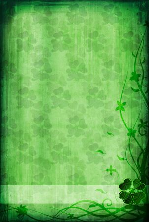 Grunge background with clover for St. Patrick's Day