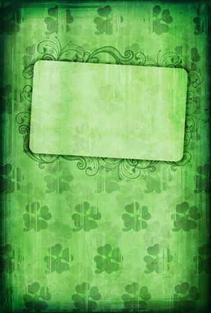 Grunge background with clover and copy-space for St. Patrick�s Day  photo