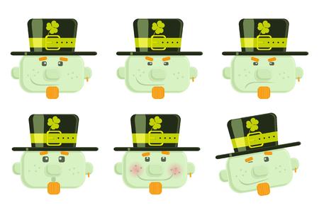 Set of vector leprechauns smiles  Illustration