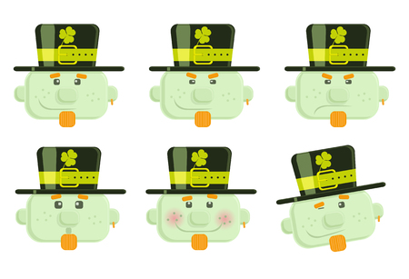 Set of vector leprechauns smiles  Vector