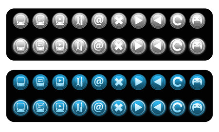 Set of vector blue and gray icons  Vector