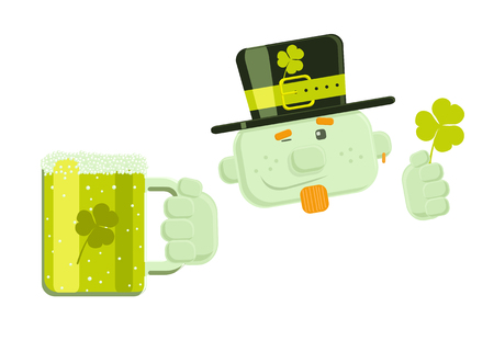 Vector winking leprechaun with green beer  Vector