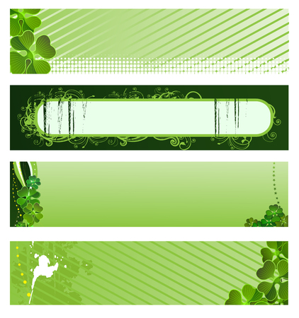 clover banners: Set of vector green banners for St. Patrick�s Day  Illustration