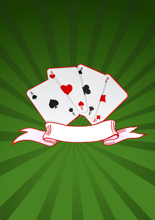 Vector illustration of cards and ribbon on green background  Vector