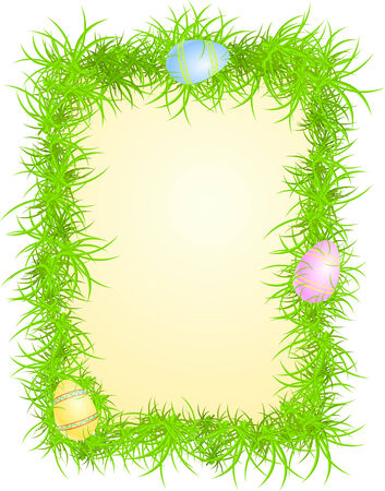 Vector illustration of colored eggs in grass  Vector