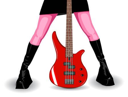 piernas de mujer: Ilustraci�n vectorial de rojo bajo las piernas y mujeres, la guitarra es totalmente editable