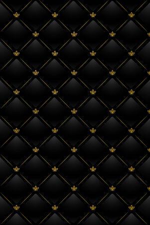 Vector illustratie van zwart leer achtergrond met gouden patroon Vector Illustratie