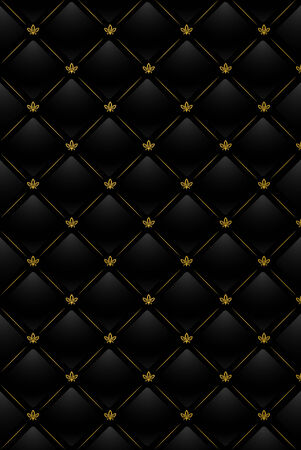 Vector illustration of black leather background with golden pattern Иллюстрация