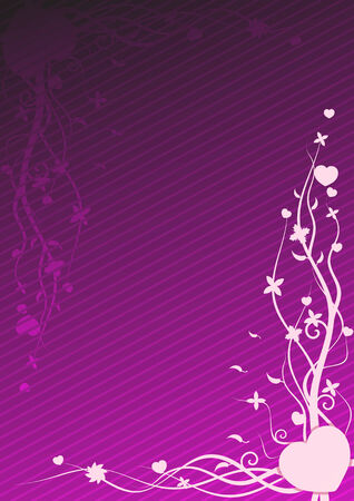 Vector illustration of purple wallpaper with heart and floral patterns  Vector