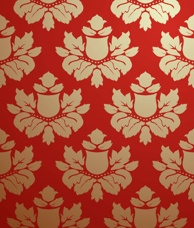 Vector seamless gold and red pattern  Vector