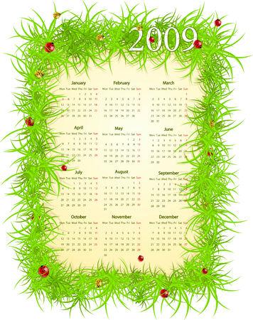 Vector illustration of European Easter calendar, starting from Mondays Vector
