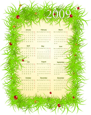 mondays: Vector illustration of European Easter calendar, starting from Mondays