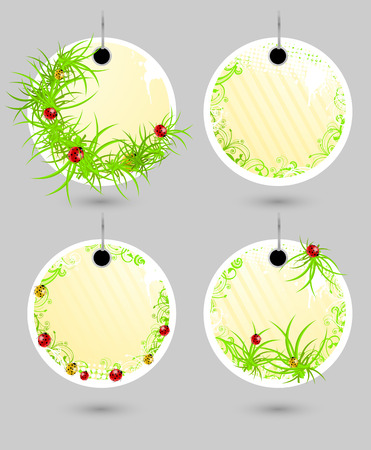 Set of vector spring labels with grass and ladybugs  Vector
