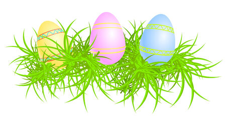 three colored: Vector illustration of three colored eggs in grass