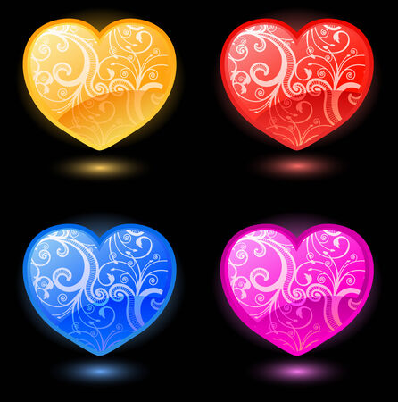Set of floral vector hearts on black background Vector