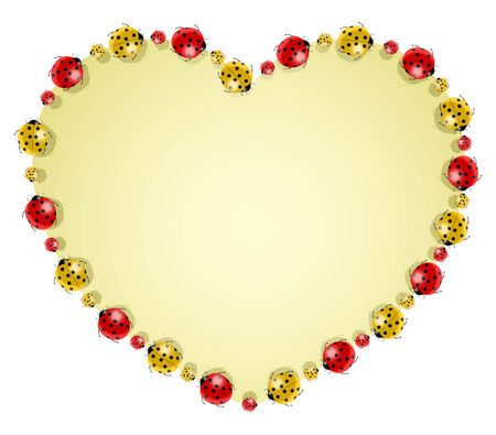 Vector illustration of colored ladybugs forming heart  Vector