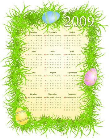 Vector illustration of Easter calendar, starting from Sundays  Stock Vector - 4614633