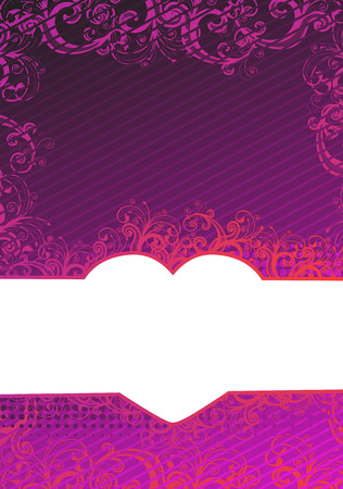 Vector illustration of purple floral background with heart copy-space Stock Vector - 4614642