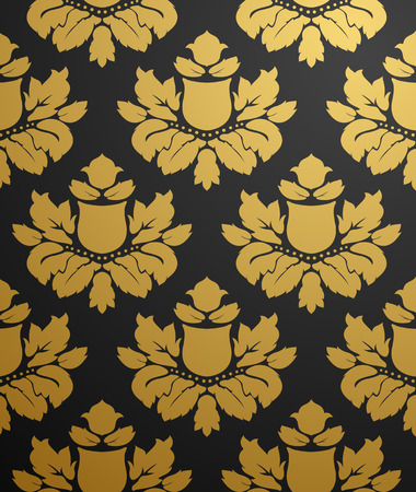 Vector seamless black and gold pattern  Vector