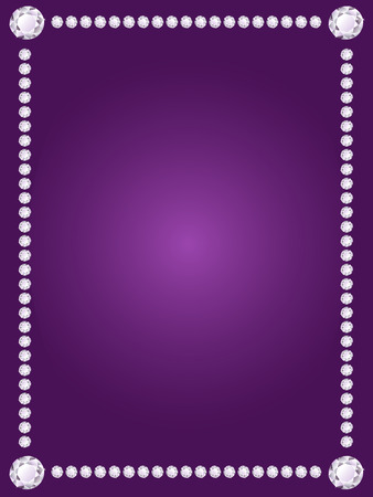Vector shiny diamond frame on violet background