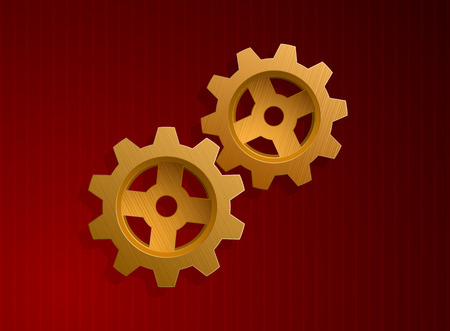 Vector illustration of golden gears over red background  Vector