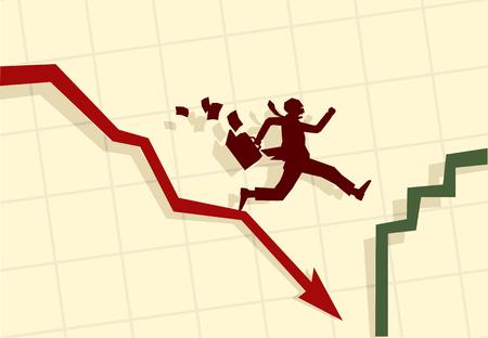 unemployment: Ilustraci�n vectorial de gracioso hombre de negocios en funcionamiento en p�nico Vectores