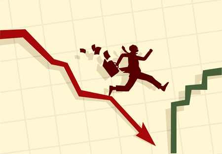 dept: Vector illustration of funny businessman running in panic  Illustration