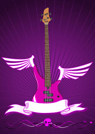 Vector illustration of modern bass guitar with scroll  Vector