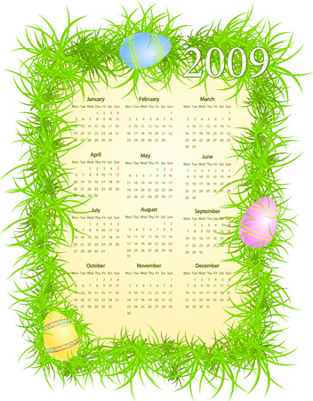 Vector illustration of Easter calendar, starting from Mondays Stock Vector - 4672346