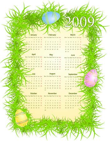 Vector illustration of Easter calendar, starting from Mondays Stock Vector - 4672346