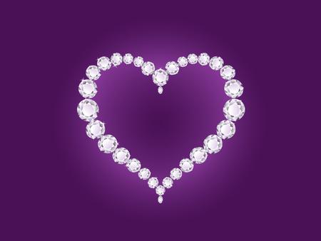 coeur diamant: Vector diamant brillant coeur sur fond violet