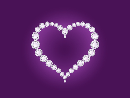 Vector shiny diamond heart on violet background  Иллюстрация