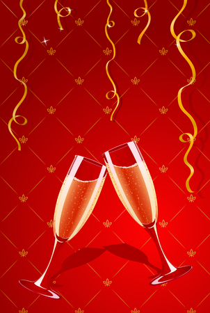 Vector illustration of champagne glasses making toast Vector